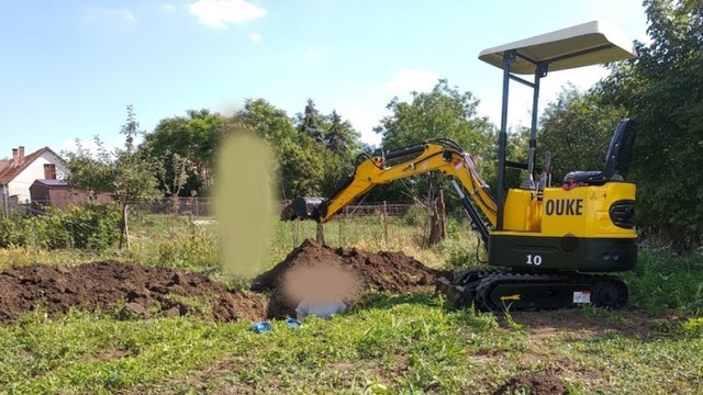 Dig the pond with a mini excavator